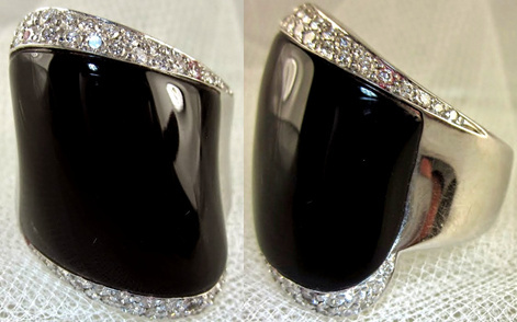 Large Black Onyx & Diamond Fashion Ring