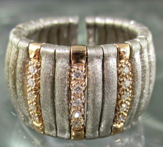 Diamond Satin Cuff Ring