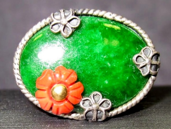 Green Jade & Coral Ring