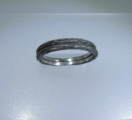 Black Rhodium Sterling Silver Bark Ring