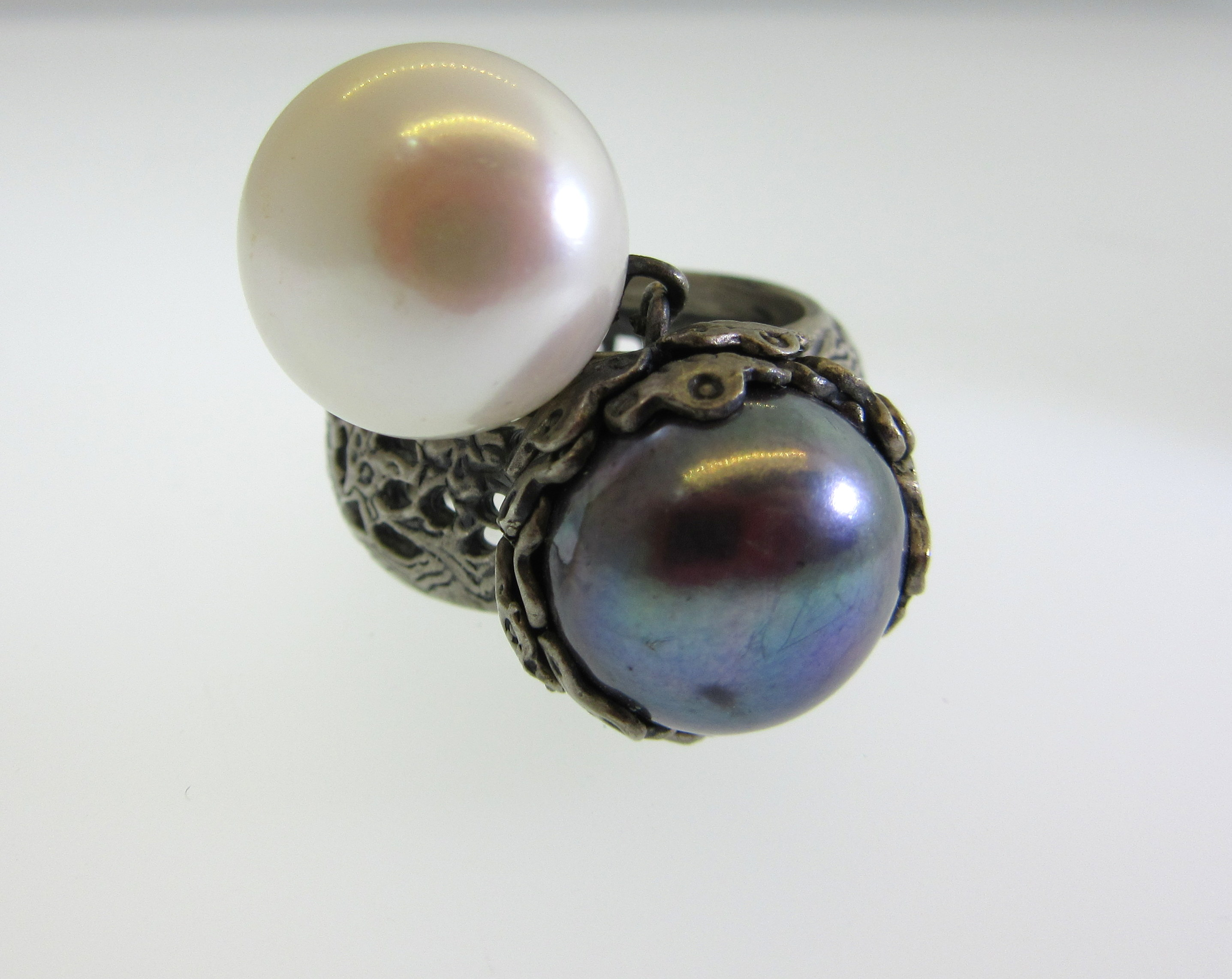 Two-Pearl Black & White Ring