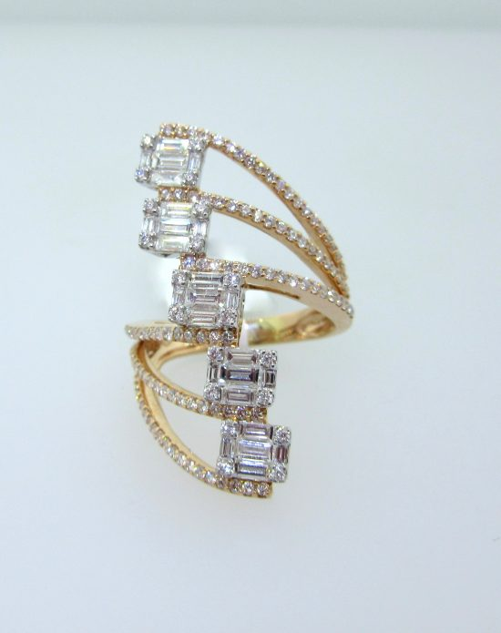 Half Finger Diamond Twist Ring