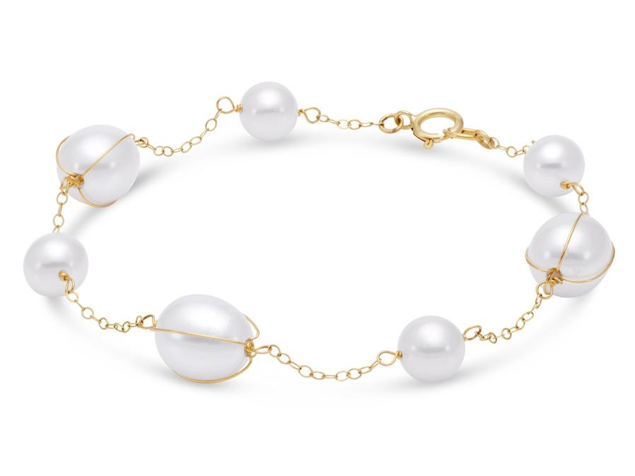 MASTOLONI - 14K Yellow Gold 6-8.5MM White Potato Shaped Freshwater Pearl Bracelet 7.5 Inches