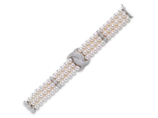 MASTOLONI - 18K White Gold 7-7.5MM White Round Cultured Pearl Bracelet with 196 Diamonds 2.36 TCW 7 Inches