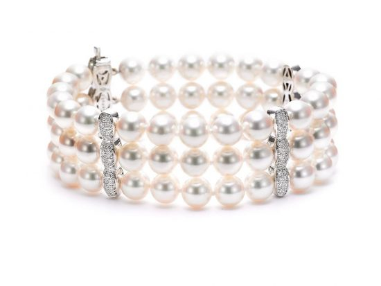 MASTOLONI - 18K White Gold 7-7.5MM White Round Cultured Pearl Bracelet with 96 Diamonds 1.08 TCW 7 Inches