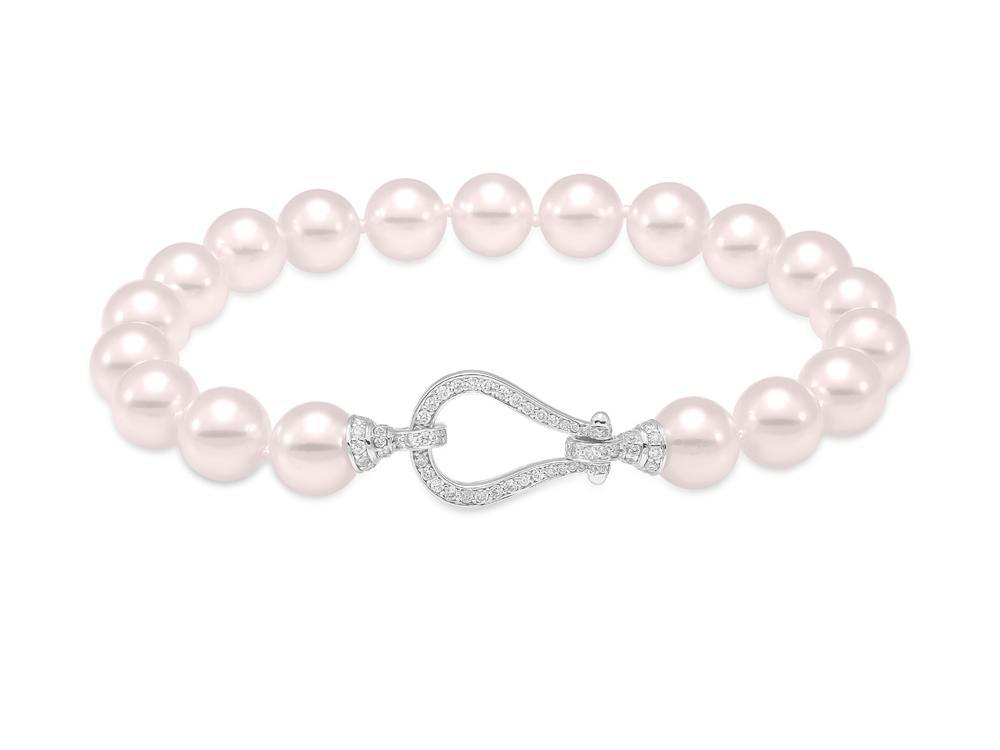 "MASTOLONI - 18K White Gold 8-8.5MM White Round ""A2"" Quality Akoya Pearl Bracelet with 120 Diamonds 0.76 TCW 7.5 Inches"