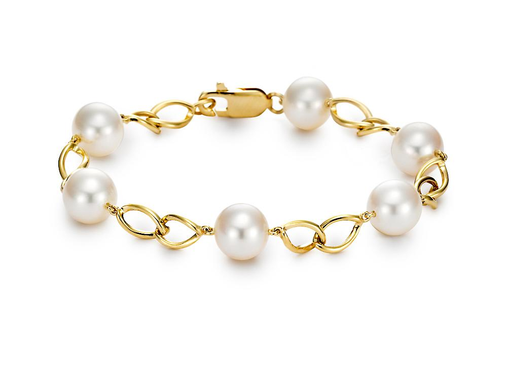 MASTOLONI - 18K Yellow Gold 9-9.5MM White Round Cultured Pearl Bracelet