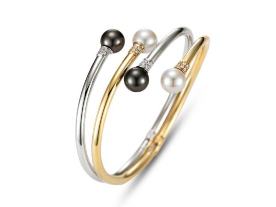 MASTOLONI - 14K Two Tone Gold 9-9.5MM Multicolor Black & White Round Cultured and Tahitian Pearl Bracelet with 24 Diamonds 0.30 TCW