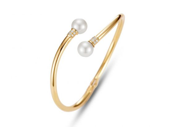 MASTOLONI - 14K Yellow Gold 9-9.5MM White Round Cultured Pearl Bracelet with 12 Diamonds 0.15 TCW