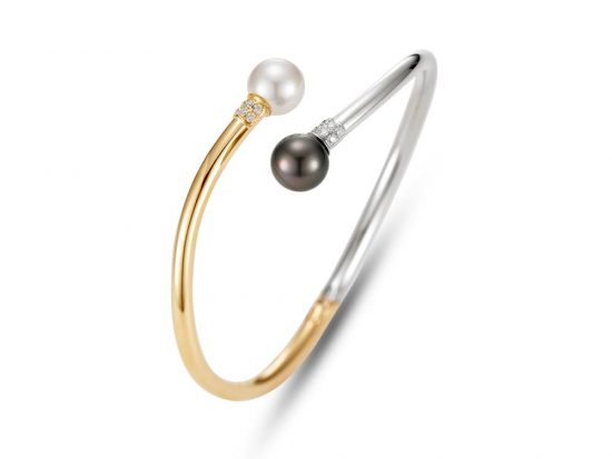 MASTOLONI - 14K Two Tone Gold 9-9.5MM Multicolor Black & White Round Cultured and Tahitian Pearl Bracelet with 12 Diamonds 0.15 TCW