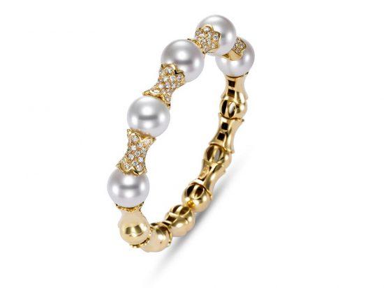 MASTOLONI - 18K Yellow Gold 12-13MM White Round South Sea Pearl Bracelet with 96 Diamonds 2.10 TCW
