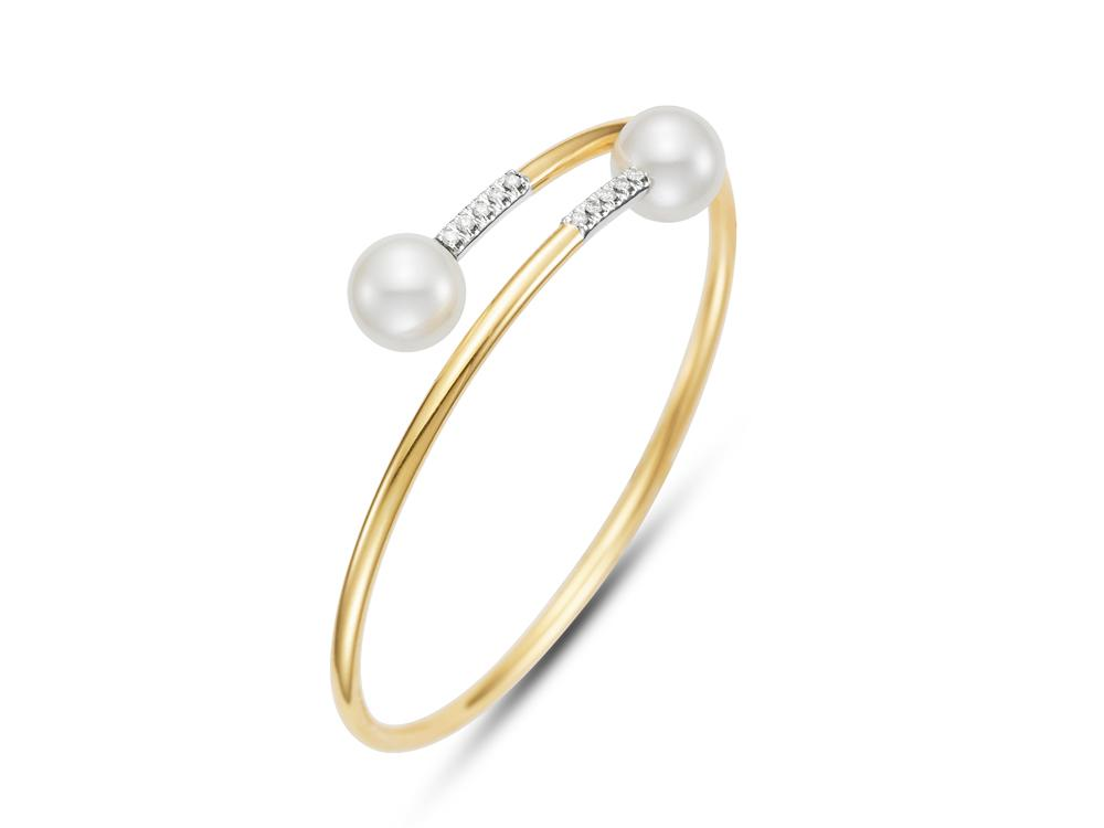 MASTOLONI - 18K Yellow Gold 9.75MM White Round Cultured Pearl Bracelet with 10 Diamonds 0.15 TCW