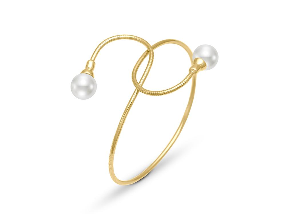 MASTOLONI - 18K Yellow Gold & Titanium 8-8.5MM White Round Cultured Pearl Bracelet