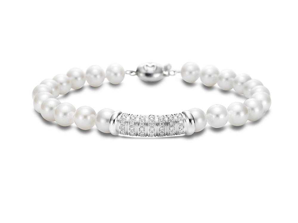 MASTOLONI - 18K White Gold 6.5-7MM White Round Cultured Pearl Bracelet with 49 Diamonds 0.40 TCW 7 Inches