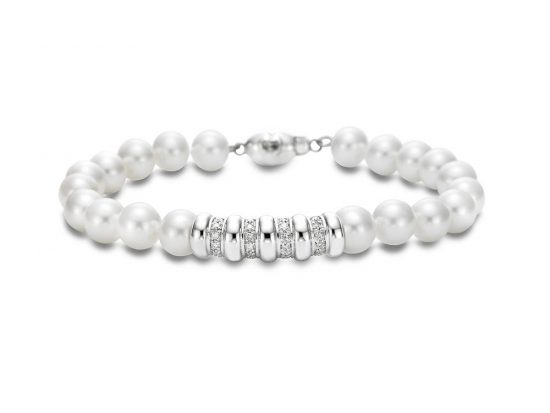 MASTOLONI - 18K White Gold 7-7.5MM White Round Cultured Pearl Bracelet with 28 Diamonds 0.25 TCW 7 Inches
