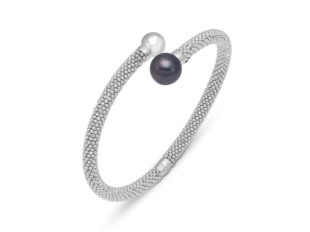 MASTOLONI - 18K White Gold 10-10.5MM Black Round Tahitian Pearl Bracelet