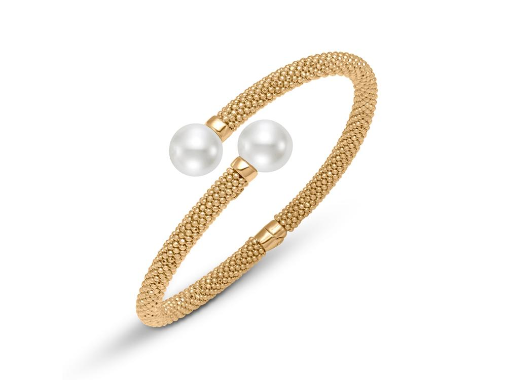 MASTOLONI - 18K Yellow Gold 10-10.5MM White Round Cultured Pearl Bracelet