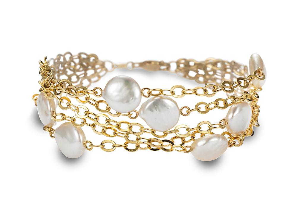 MASTOLONI - 18K Yellow Gold 10-11MM White Coin Freshwater Pearl Bracelet 8 Inches