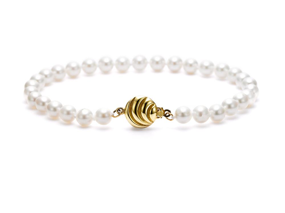 MASTOLONI - 18K Yellow Gold 5-5.5MM White Round Cultured Pearl Bracelet 7 Inches
