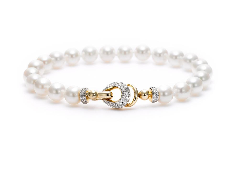 MASTOLONI - 18K Yellow Gold 6.5-7MM White Round Cultured Pearl Bracelet with 27 Diamonds 0.25 TCW