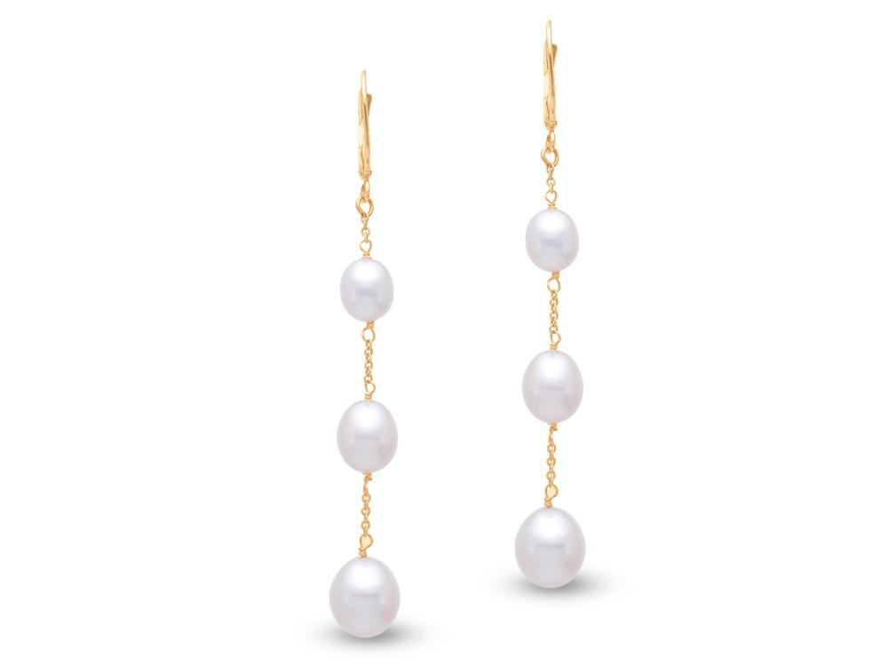 MASTOLONI - 14K Yellow Gold 6-9MM White Potato Shaped Freshwater Pearl Clip/Lever Back Earring