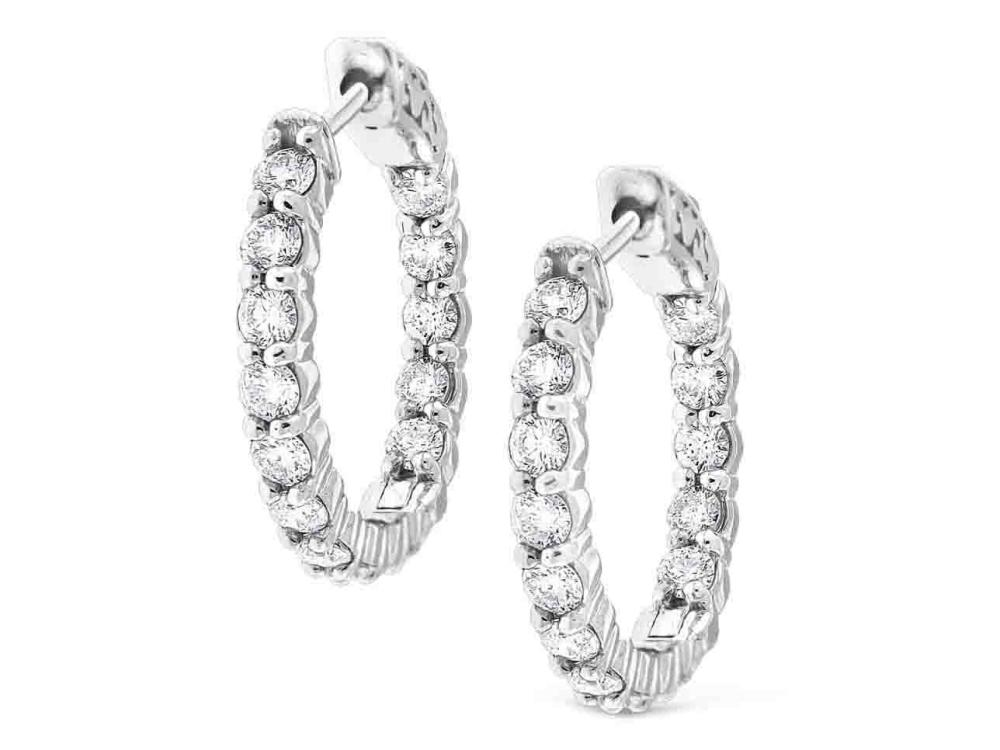 KC DESIGNS - Diamond Inside Out Hoop Earrings