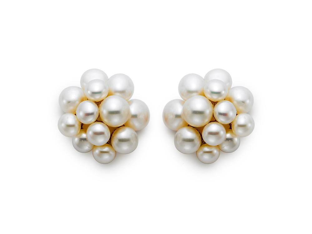 MASTOLONI - 18K Yellow Gold 4-6MM White Button Freshwater Pearl Earring