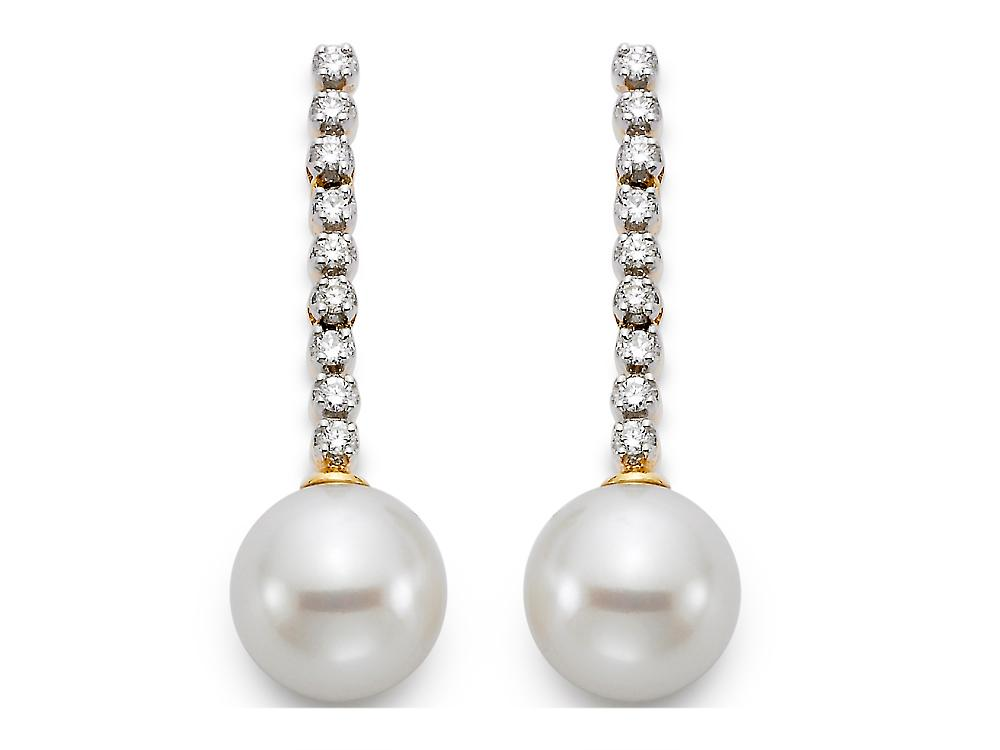 MASTOLONI - 18K Yellow Gold 9-9.5MM White Round Cultured Pearl Earring with 18 Diamonds 0.25 TCW