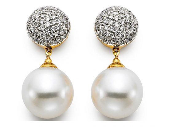 MASTOLONI - 18K White Gold 11-11.5MM White Round Cultured Pearl Earring with 114 Diamonds 0.87 TCW