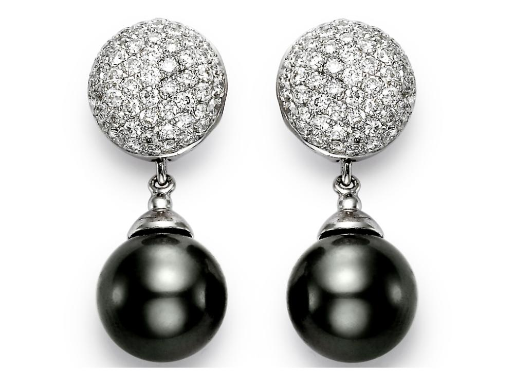 MASTOLONI - 18K White Gold 10.5-11MM Black Round Tahitian Pearl Earring with 114 Diamonds 0.87 TCW