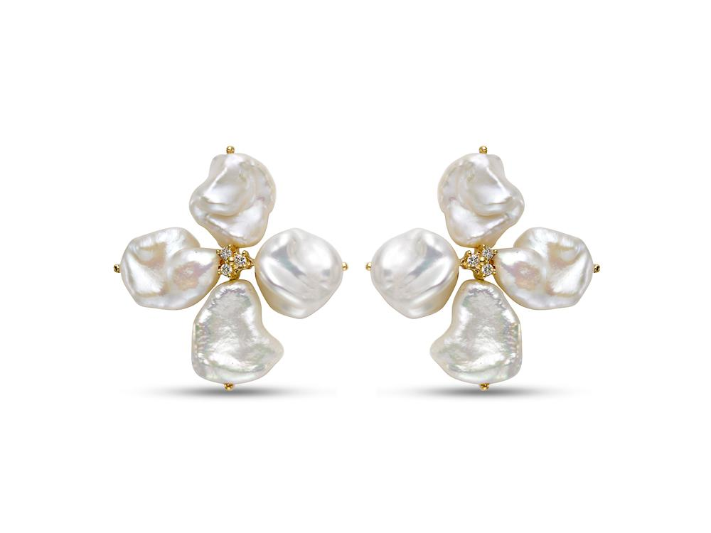 MASTOLONI - 18K Yellow Gold 7.8-9MM White Keshi Freshwater Pearl Earring with 6 Diamonds 0.10 TCW