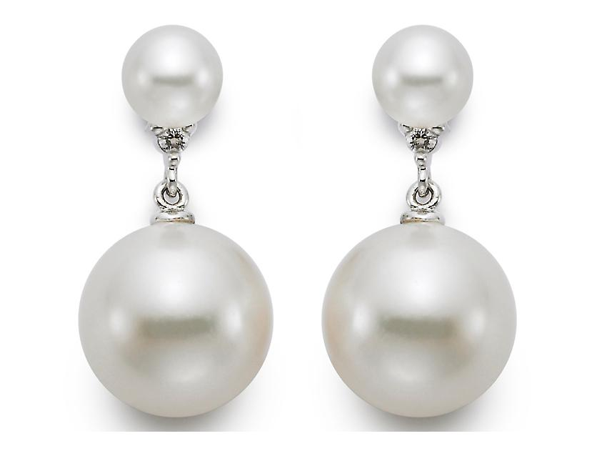 MASTOLONI - 18K White Gold 10-10.5MM White Round Cultured Pearl Earring with 2 Diamonds 0.04 TCW