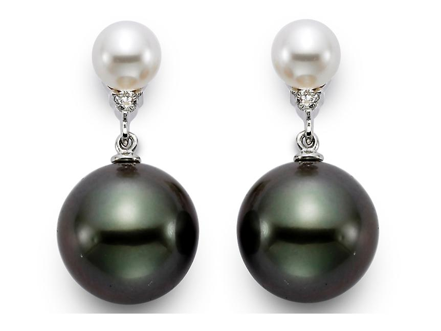 MASTOLONI - 18K White Gold 10.5-11MM Multicolor Black & White Round Tahitian Pearl Earring with 2 Diamonds 0.04 TCW