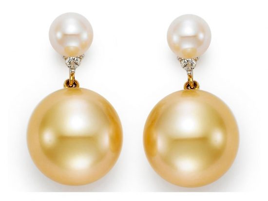 MASTOLONI - 18K Yellow Gold 10-11MM Golden Round South Sea Pearl Earring with 2 Diamonds 0.04 TCW