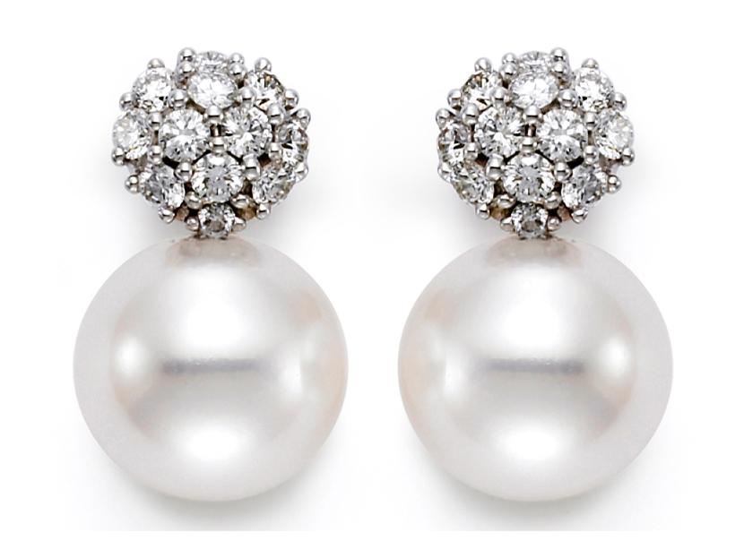 MASTOLONI - 18K White Gold 7.5-8MM White Round Cultured Pearl Earring with 24 Diamonds 0.24 TCW