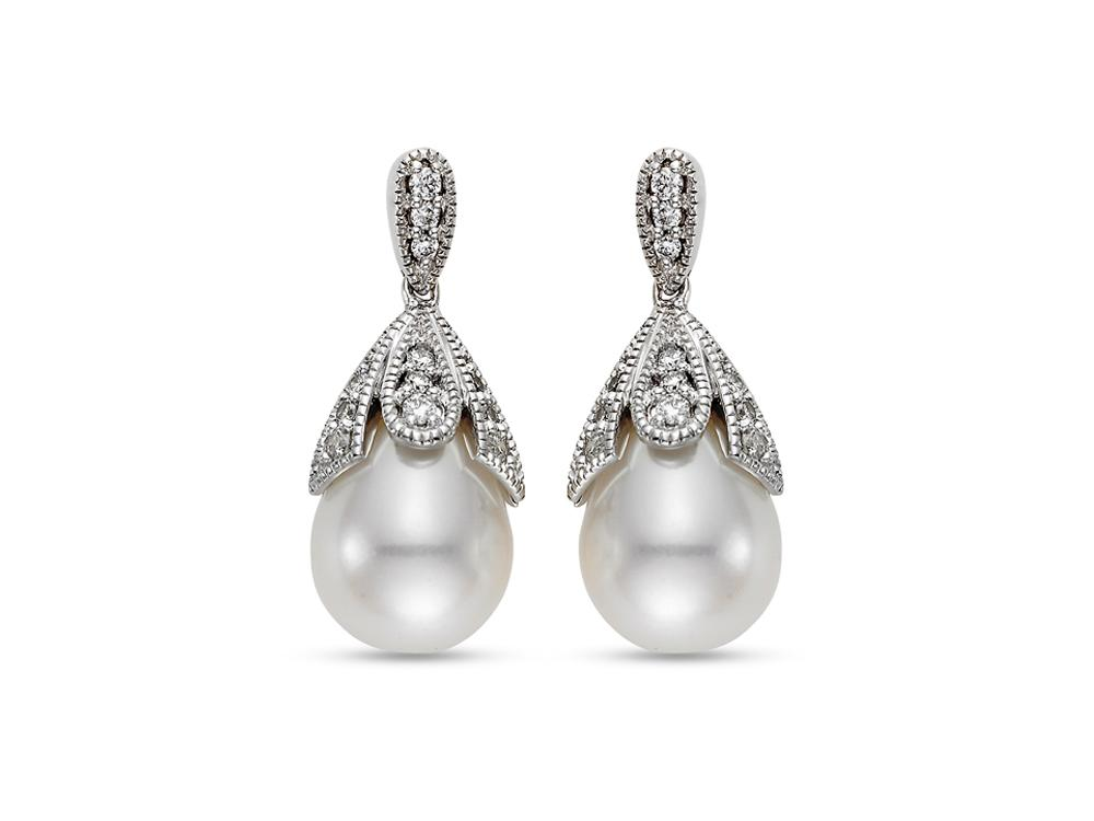 MASTOLONI - 18K White Gold 9-9.5MM White Drop Shaped Cultured Pearl Earring with 24 Diamonds 0.24 TCW
