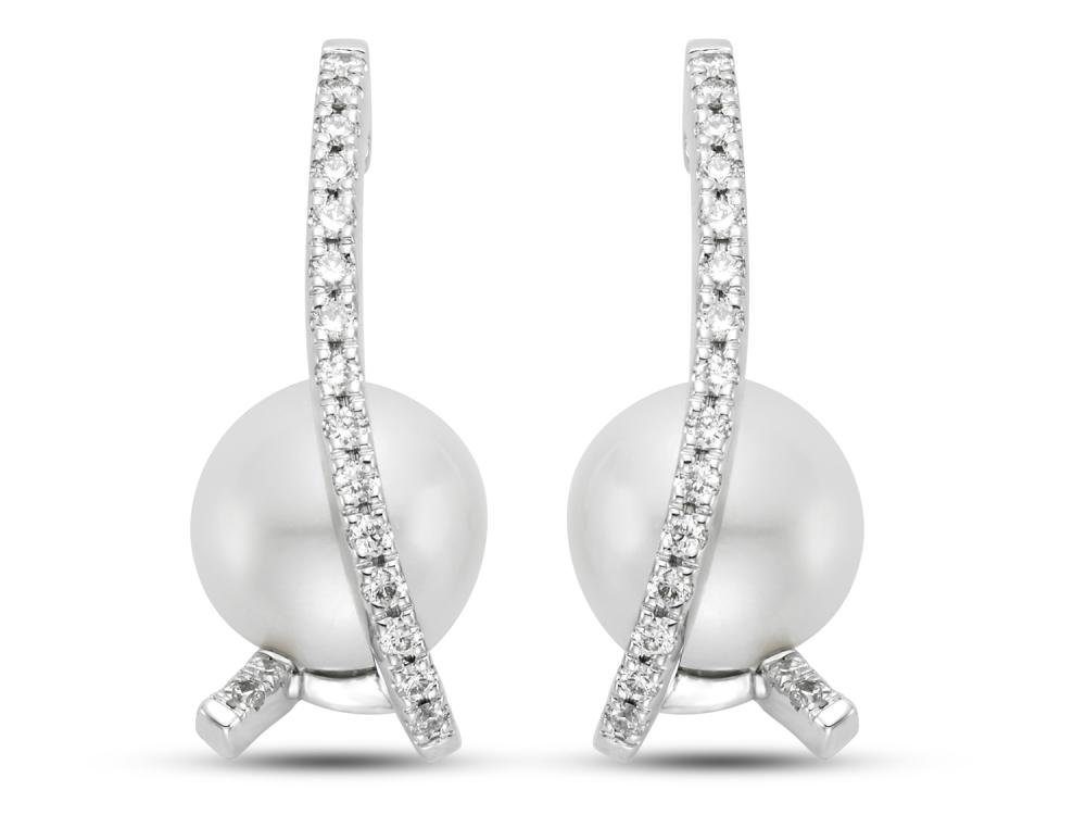 MASTOLONI - 18K White Gold 8-8.5MM White Round Cultured Pearl Earring