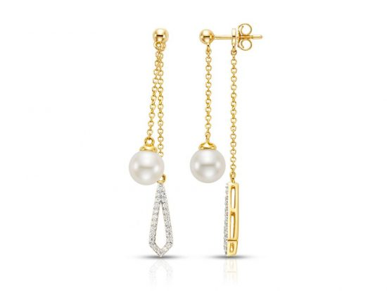 MASTOLONI - 14K Yellow Gold 7.5-8MM White Round Cultured Pearl Earring with 104 Diamonds 0.54 TCW