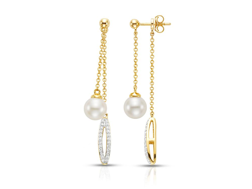 MASTOLONI - 14K Yellow Gold 7.5-8MM White Round Cultured Pearl Earring with 96 Diamonds 0.50 TCW