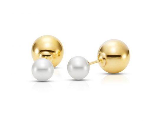 MASTOLONI - 14K Yellow Gold 8-8.5MM White Round Cultured Pearl Threaded Back Earring