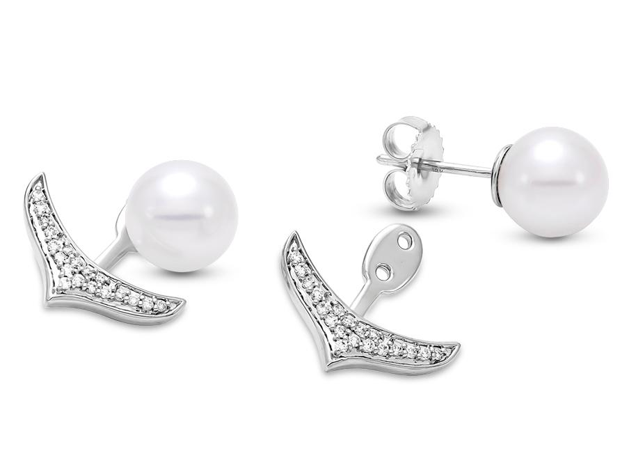 MASTOLONI - 18K White Gold 8.5-9MM White Round Cultured Pearl Push Back Earring with 38 Diamonds 0.20 TCW