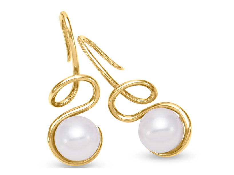 MASTOLONI - 18K Yellow Gold 8-8.5MM White Round Cultured Pearl Shepherds Hook Earring