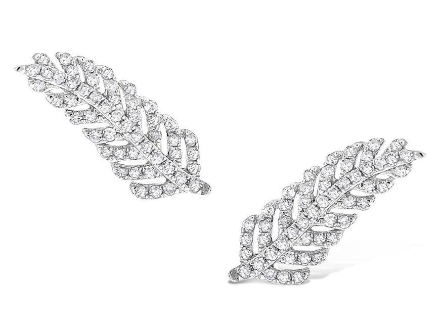 KC DESIGNS - Diamond Feather Earrings