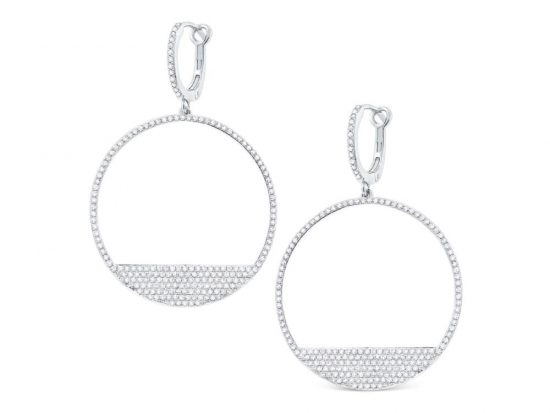 KC DESIGNS - 14K Diamond Modern Circle Earrings