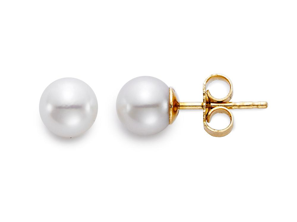 "MASTOLONI - 14K Yellow Gold 5.5-6MM White Round ""A"" Quality Akoya Pearl Earring"