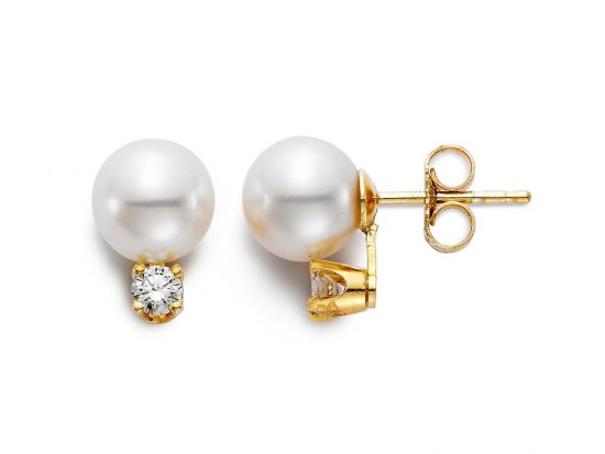 "MASTOLONI - 14K Yellow Gold 5.5-6MM White Round ""A2"" Quality Akoya Pearl Earring with 2 Diamonds 0.08 TCW"