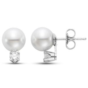 "MASTOLONI - 14K White Gold 5.5-6MM White Round ""A2"" Quality Akoya Pearl Earring with 2 Diamonds 0.08 TCW"