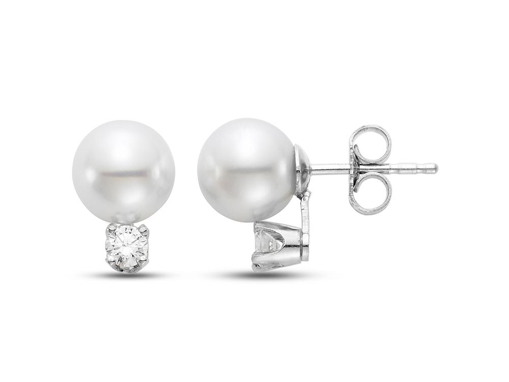 "MASTOLONI - 18K White Gold 5.5-6MM White Round ""AA"" Quality Akoya Pearl Earring with 2 Diamonds 0.08 TCW"