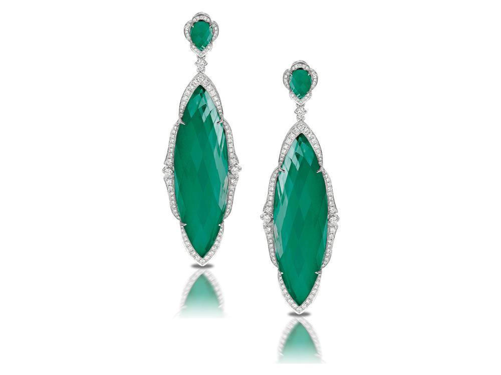 DOVES - 18K White Gold White Diamond Earrings
