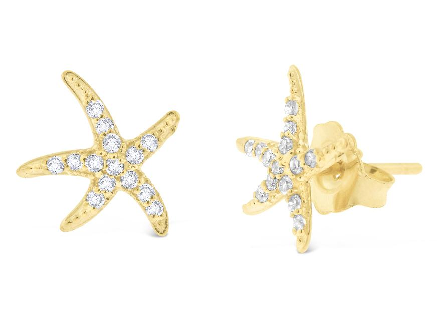 KC DESIGNS - 14K Gold and Diamond Starfish Earrings
